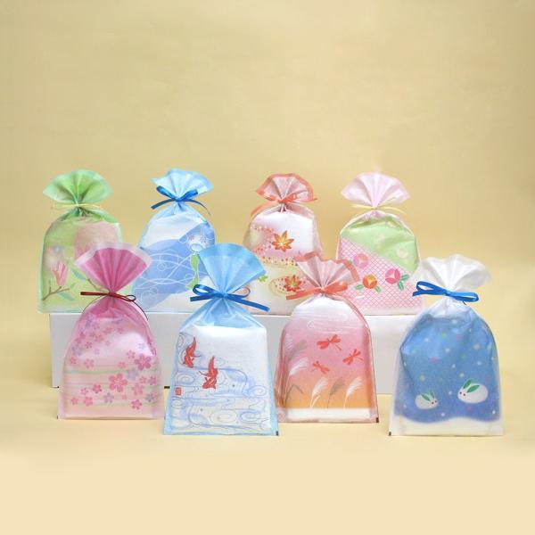 不織布製和風ラッピング 四季物語 平袋 10枚入り 全8柄 季節のイベント 和紙調|asakura-ya|02