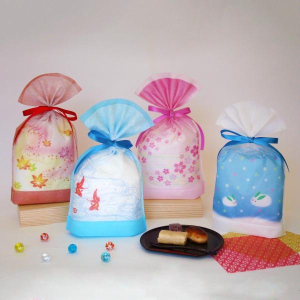 和風 包材 自立可能 四季物語 底ガゼット袋 10枚入り 全4柄 季節のイベント 不織布 和柄|asakura-ya|02