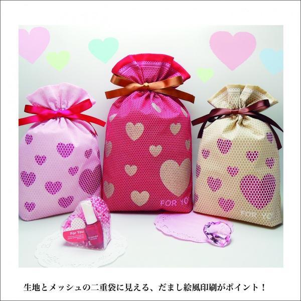 バレンタインギフト袋 ハートメッシュ巾着 M 全3色 ハートのプレゼントバッグ|asakura-ya|03
