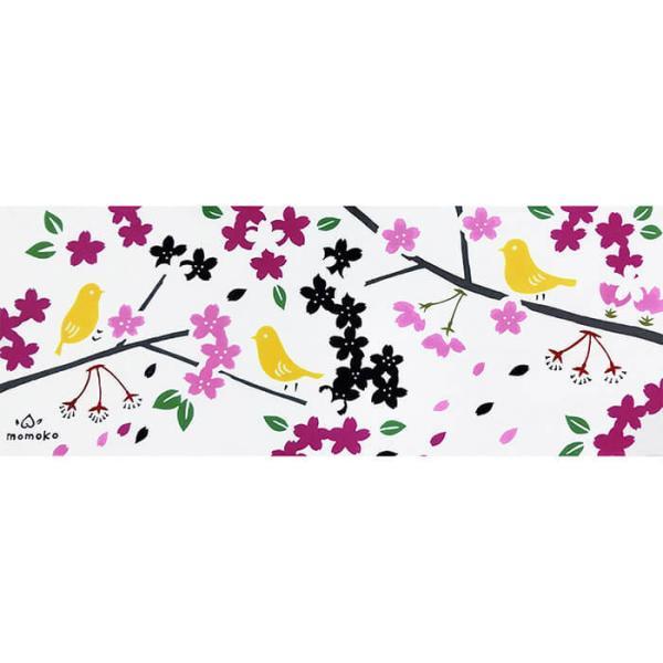 絵てぬぐい「花と小鳥」四季 春 /手ぬぐい 手拭い タオル 日本製 海外お土産 外国人 プレゼント ギフト 絵画 和雑貨 和柄 額 アートフレーム|asanoha-shop|02