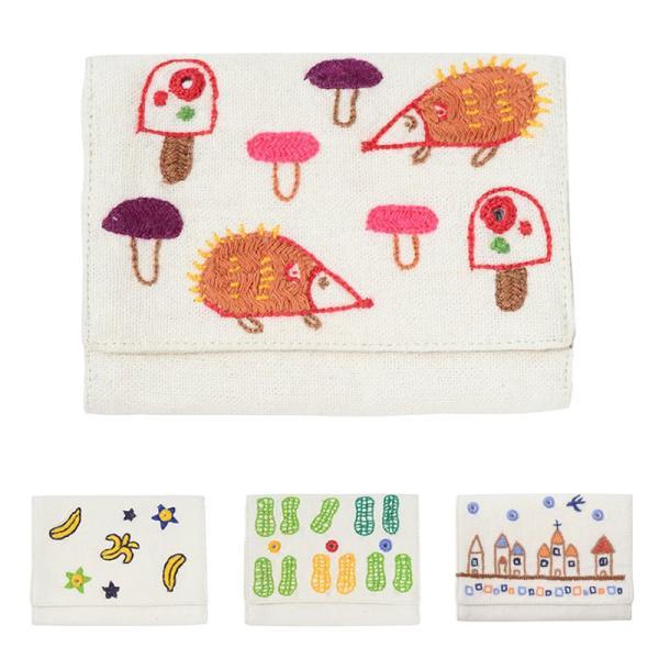ミラー刺繍 カードケース ハリネズミ柄(白)