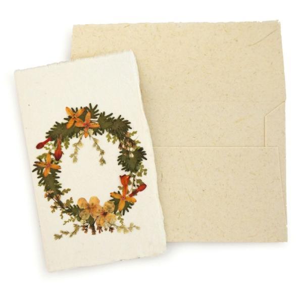 手漉き紙 クリスマスミニカード(リースI) asante