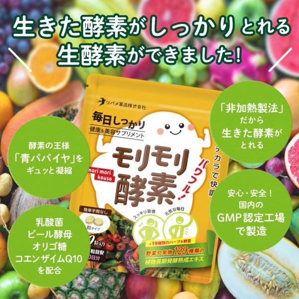 【 今だけ!お試し価格 】モリモリ酵素 サプリ サプリメント 酵素 ダイエット 約1カ月分 ツバメ薬品|ashiyacojp