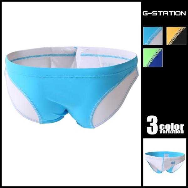 G-Station/ジーステーション GSロゴバイカラー ビキニスイムウェア スイムブリーフ 男性水着  海水パンツ|asian-closet