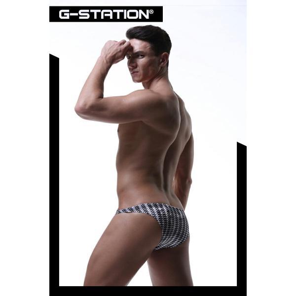 G-Station/ジーステーション 千鳥格子×光沢ベルベット生地 ビキニ 男性下着 ハーフバック 起毛|asian-closet|09