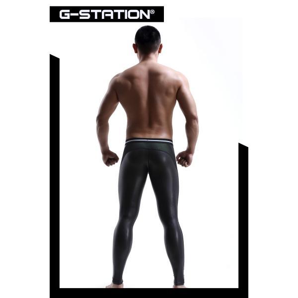 G-Station/ジーステーション 3D立体ポーチ ラバーテイスト メッシュ切り返しタイツ モッコリ メッシュ タイツ ロングパンツ|asian-closet|07