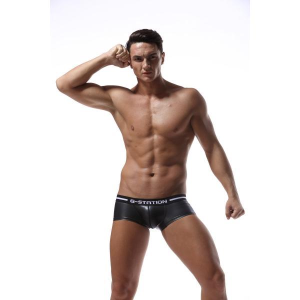 G-station/ジーステーション JET BLACKシリーズ ラバーテイスト ボクサーパンツ 男性下着 メンズ パンツ|asian-closet|03