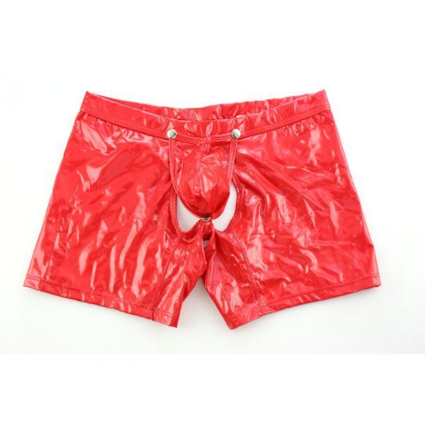 ノーブランド ビビットカラー エナメル ロングOバック ボクサーパンツ モッコリ ボタン式カバー付き 男性下着 メンズ パンツ|asian-closet|05