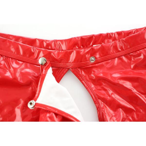 ノーブランド ビビットカラー エナメル ロングOバック ボクサーパンツ モッコリ ボタン式カバー付き 男性下着 メンズ パンツ|asian-closet|09