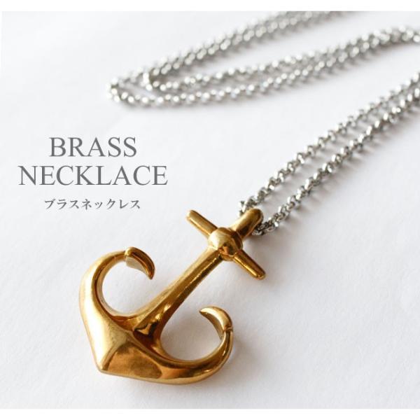 ネックレス メンズ レディース チェーン付 ブラス 真鍮 アンカー 錨 ゴールド|asianarts|02