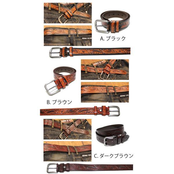 ベルト 本革 メンズ 牛革 レザー 大きいサイズあり カービング シンプルバックル asianarts 03