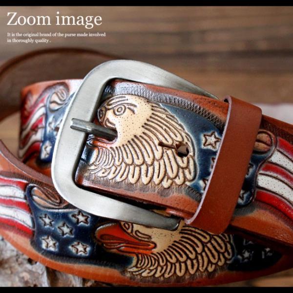 ベルト 本革 メンズ 牛革 レザー 型押しカービング アメリカデザイン アメリカン ウエスタンベルト バックルベルト asianarts 05
