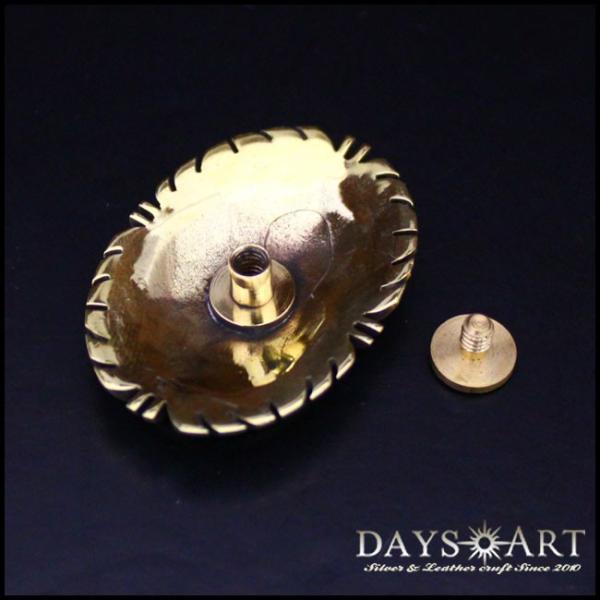 コンチョ ブラス 真鍮 ネジ式 パーツ ボタン カスタム 天然ストーンコンチョ オーバル型 ズニ族|asianarts|02