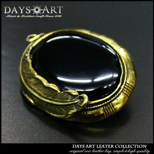 コンチョ ブラス 真鍮 ネジ式 パーツ ボタン カスタム オーバル型 フェザー彫刻 オニキス ターコイズ ネイティブ 民族調