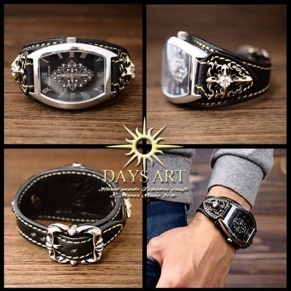 becc680102 ... 時計 メンズ 腕時計 レザーブレスレットウォッチ 牛革ベルト トノーフェイス イタリアンレザー ジルコニアクロスコンチョ  ...
