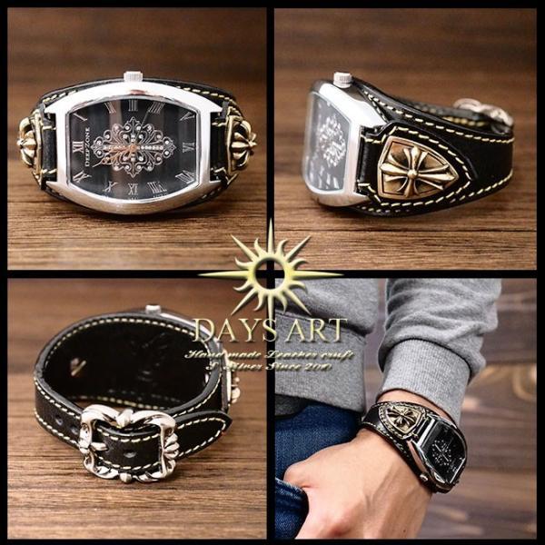 9d8c4db3d8 ... 時計 メンズ 腕時計 レザーブレスレットウォッチ 牛革ベルト トノーフェイス イタリアンレザー ゴシッククロスコンチョ  ...