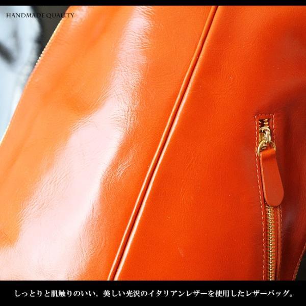 ボディバッグ レザー メンズ 本革 大容量 iPad収納 イタリアンレザー 斜めがけ ワンショルダーバッグ|asianarts|03