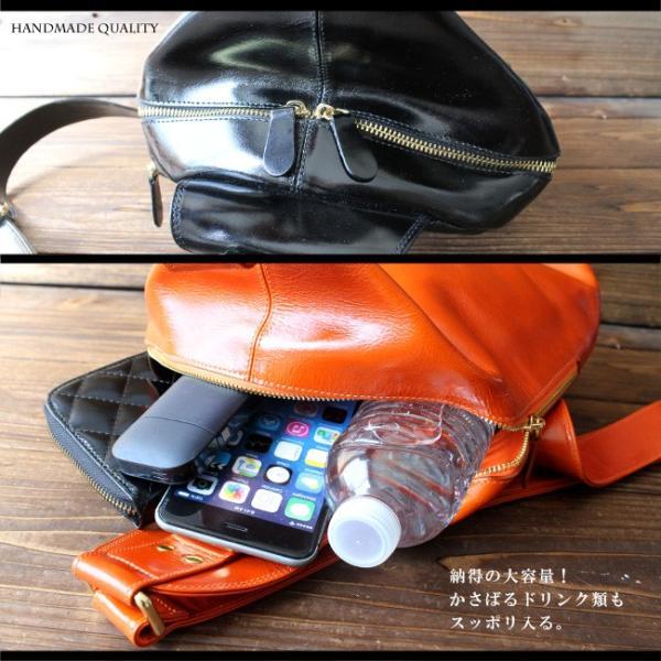 ボディバッグ レザー メンズ 本革 大容量 iPad収納 イタリアンレザー 斜めがけ ワンショルダーバッグ|asianarts|05