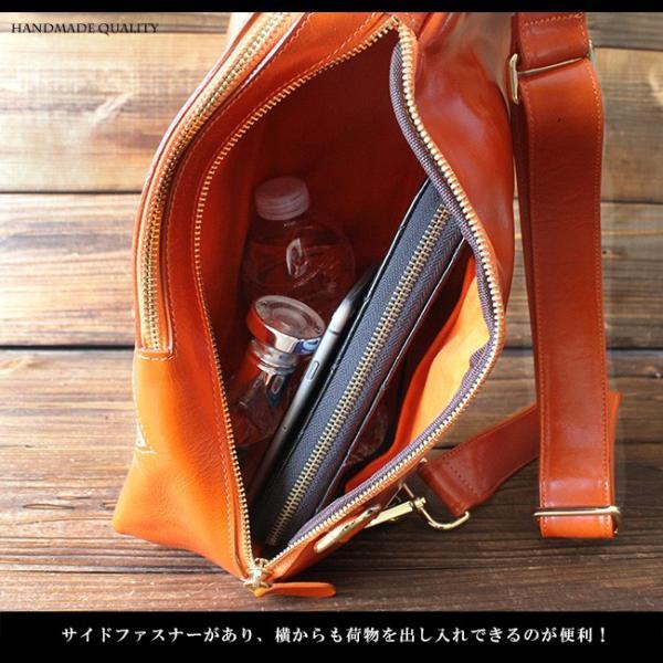 ボディバッグ レザー メンズ 本革 大容量 iPad収納 イタリアンレザー 斜めがけ ワンショルダーバッグ|asianarts|06