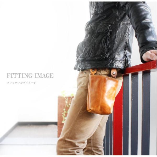 ベルトポーチ レザー メンズ 本革 シンプル ウエストバッグ ヒップバッグ シザーバッグ|asianarts|13