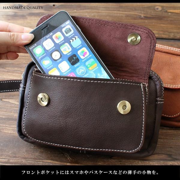 ウエストポーチ レザー メンズ 本革 ファニーパック ボディバッグ 長財布 iPhone8plus対応 ヒップバッグ|asianarts|05