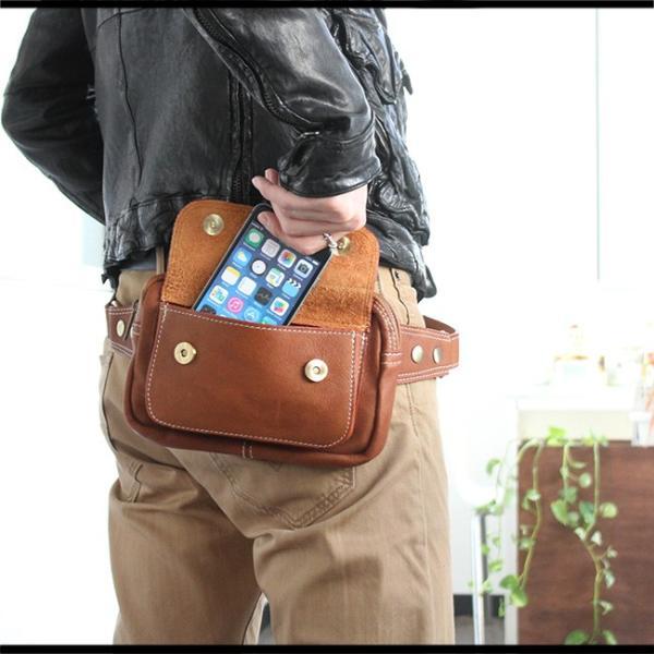 ウエストポーチ レザー メンズ 本革 ファニーパック ボディバッグ 長財布 iPhone8plus対応 ヒップバッグ|asianarts|08