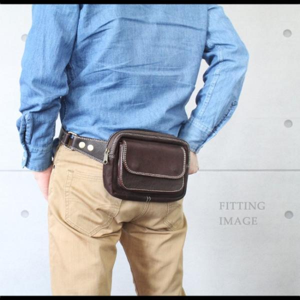 ウエストポーチ レザー メンズ 本革 ファニーパック ボディバッグ 長財布 iPhone8plus対応 ヒップバッグ|asianarts|09