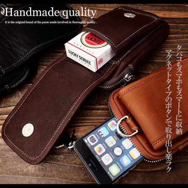 スマホケース iPhoneケース レザー 本革 牛革 カーフスキン ダブルポケット 携帯ケース スマートフォン収納|asianarts|04