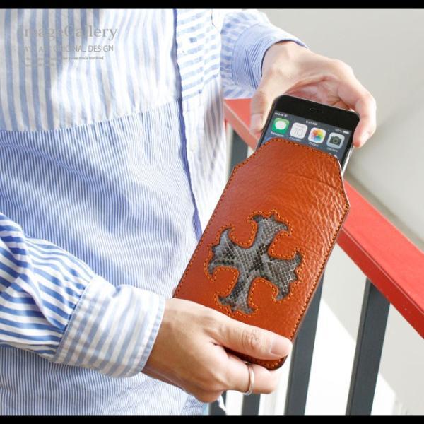 スマホケース iPhoneケース レザー 本革 スマホポーチ クロスモチーフ ヘビ革 パイソン iPhone 8 8Plus X XS 7 7Plus asianarts 10