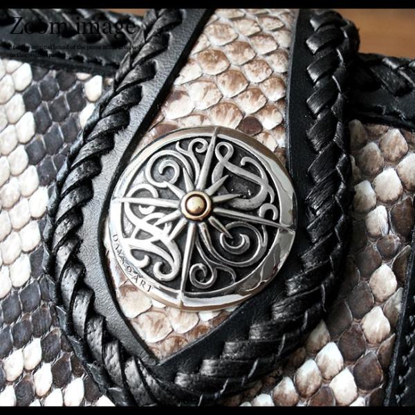 財布 長財布 メンズ 本革 レザー バイカーズウォレット パイソン 蛇革 サドルレザーウォレット 牛革 asianarts 04