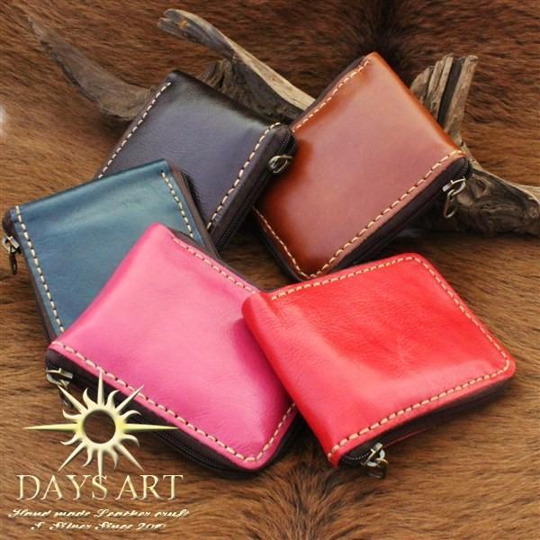 財布 二つ折り財布 メンズ レディース 本革 レザー ラウンドファスナー シンプル レザーウォレット|asianarts