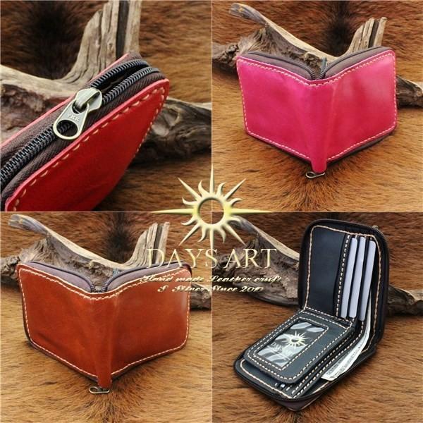 財布 二つ折り財布 メンズ レディース 本革 レザー ラウンドファスナー シンプル レザーウォレット|asianarts|03