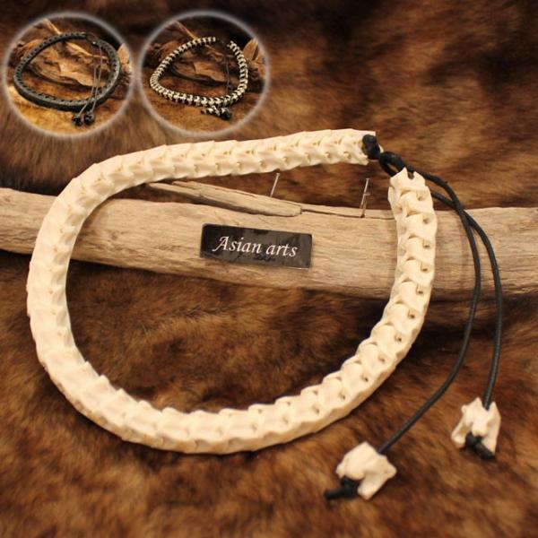 ネックレス スネークボーン 本物蛇骨使用 レザーネックレス メンズ|asianarts