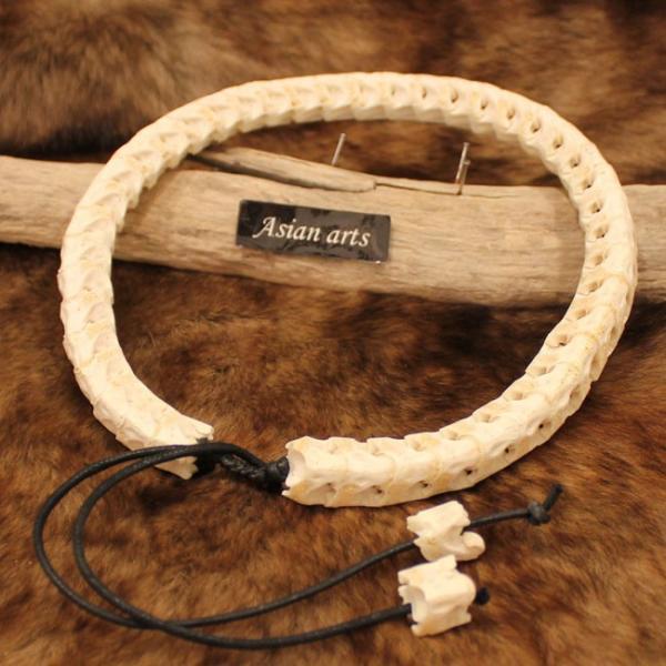 ネックレス スネークボーン 本物蛇骨使用 レザーネックレス メンズ|asianarts|03
