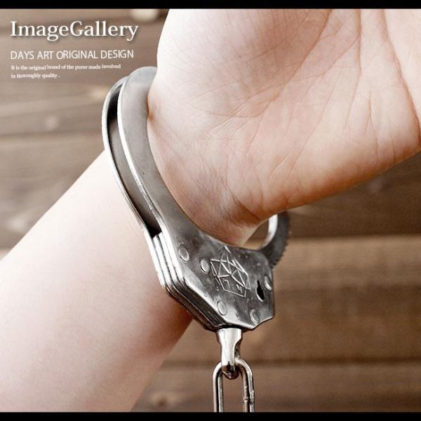 手錠 ハンドカフス レザーケース付 本革 シルバークロム 鍵付き ハロウィン コスプレ|asianarts|07