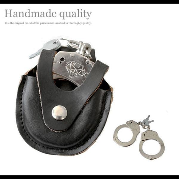 手錠 ハンドカフス レザーケース付 本革 シルバークロム 鍵付き ハロウィン コスプレ|asianarts|10