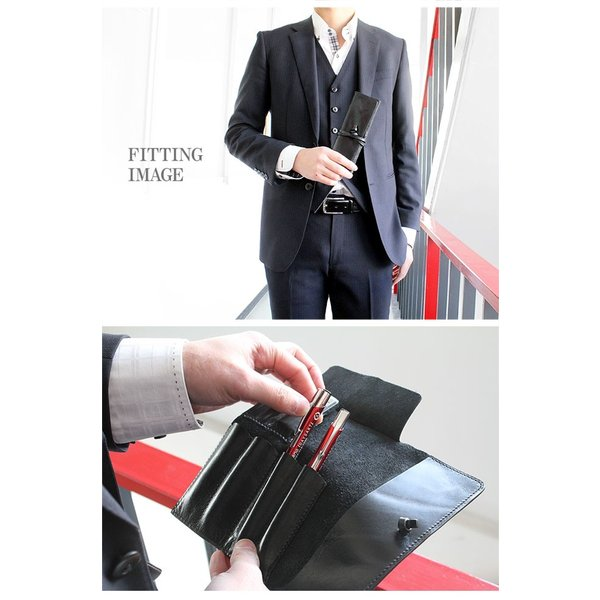 ペンケース 本革 ロール型ペンケース イタリアンレザー 三つ折り 革紐留め プルームテックケース|asianarts|12