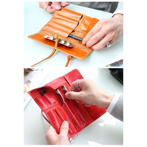ペンケース 本革 ロール型ペンケース イタリアンレザー 三つ折り 革紐留め プルームテックケース|asianarts|16