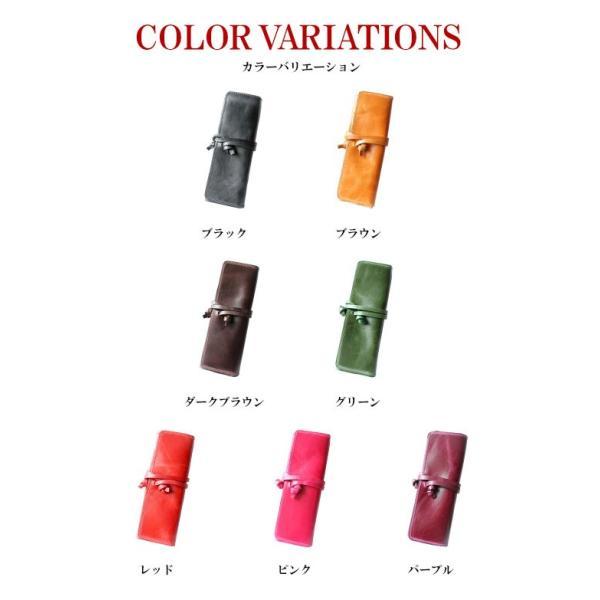 ペンケース 本革 ロール型ペンケース イタリアンレザー 三つ折り 革紐留め プルームテックケース|asianarts|18