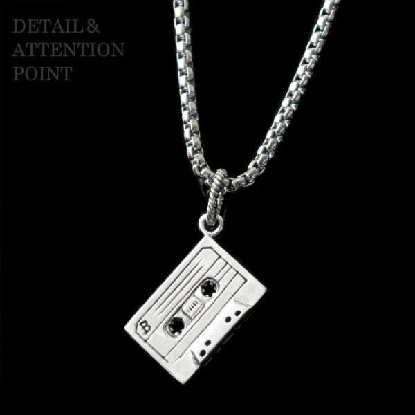 ネックレス シルバー925 メンズ レディース チェーン付 カセットテープ オーディオ レトロ|asianarts|04