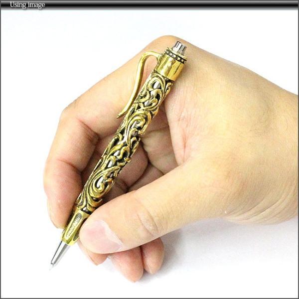 デザインボールペン ブラス 真鍮 ミニボールペン アラベスク 百合の紋章 クロス クリップ付|asianarts|05