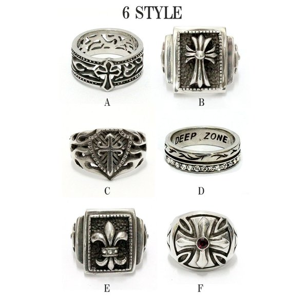リング シルバーミックス 指輪 メンズ レディース クロス 百合の紋章 アラベスク クラウン ジルコニア|asianarts|04