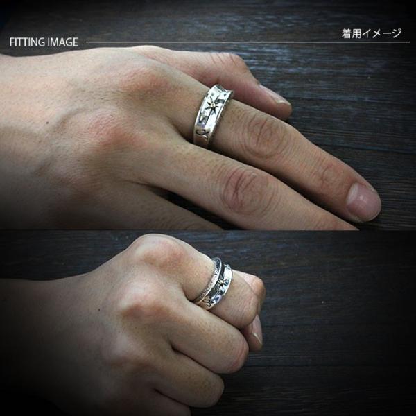 リング シルバー925 指輪 メンズ 太陽神 エッジデザイン アラベスク 民族調彫刻 コンビリング 19号 21号 23号|asianarts|04