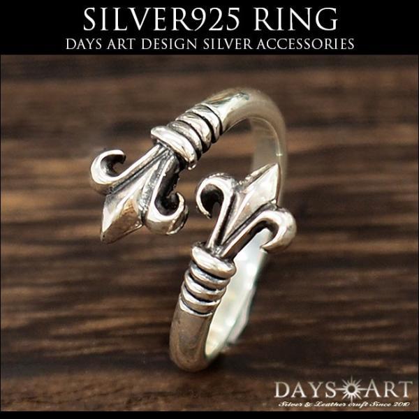 リング シルバー925 指輪 メンズ レディース 百合の紋章 ダブルトップ フレアリング サイズフリー|asianarts|02
