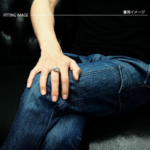 リング シルバー925 指輪 メンズ レディース フェザーリング アラベスク彫刻 ブラックジルコニア サイズフリー|asianarts|04