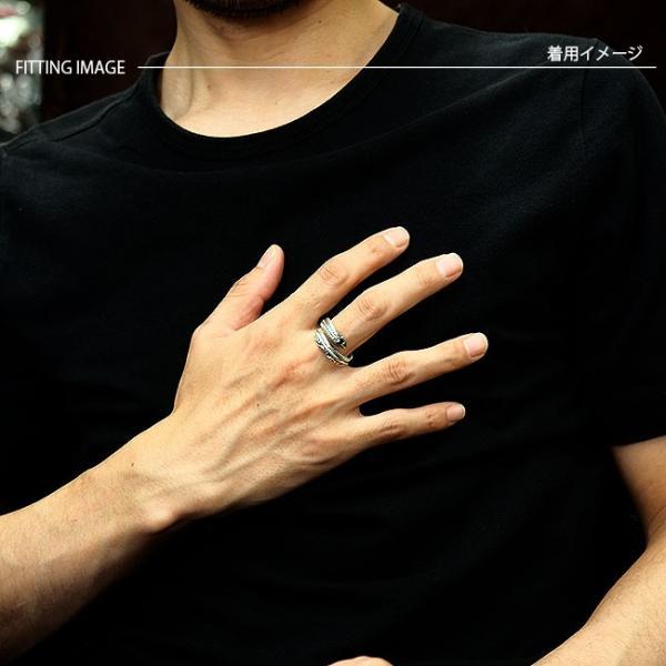 リング シルバー925 指輪 メンズ レディース フェザーリング アラベスク彫刻 ブラックジルコニア サイズフリー|asianarts|05