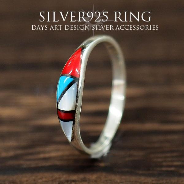 リング シルバー925 指輪 メンズ レディース ソリッドインレイ 天然石 ズニ族 民族デザイン サイズフリー|asianarts