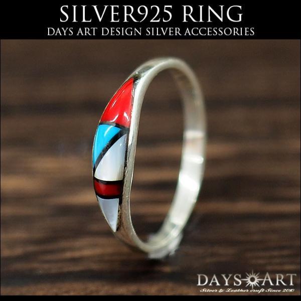 リング シルバー925 指輪 メンズ レディース ソリッドインレイ 天然石 ズニ族 民族デザイン サイズフリー|asianarts|02
