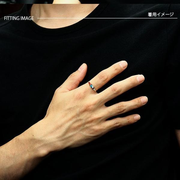 リング シルバー925 指輪 メンズ レディース ソリッドインレイ 天然石 ズニ族 民族デザイン サイズフリー|asianarts|05