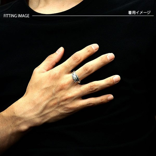 リング シルバー925 指輪 メンズ レディース フェザーリング ネイティブデザイン イーグルフェザー サイズフリー|asianarts|05